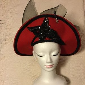 Exquisite Vintage Red Hat Sequin Tulle Bow Pins
